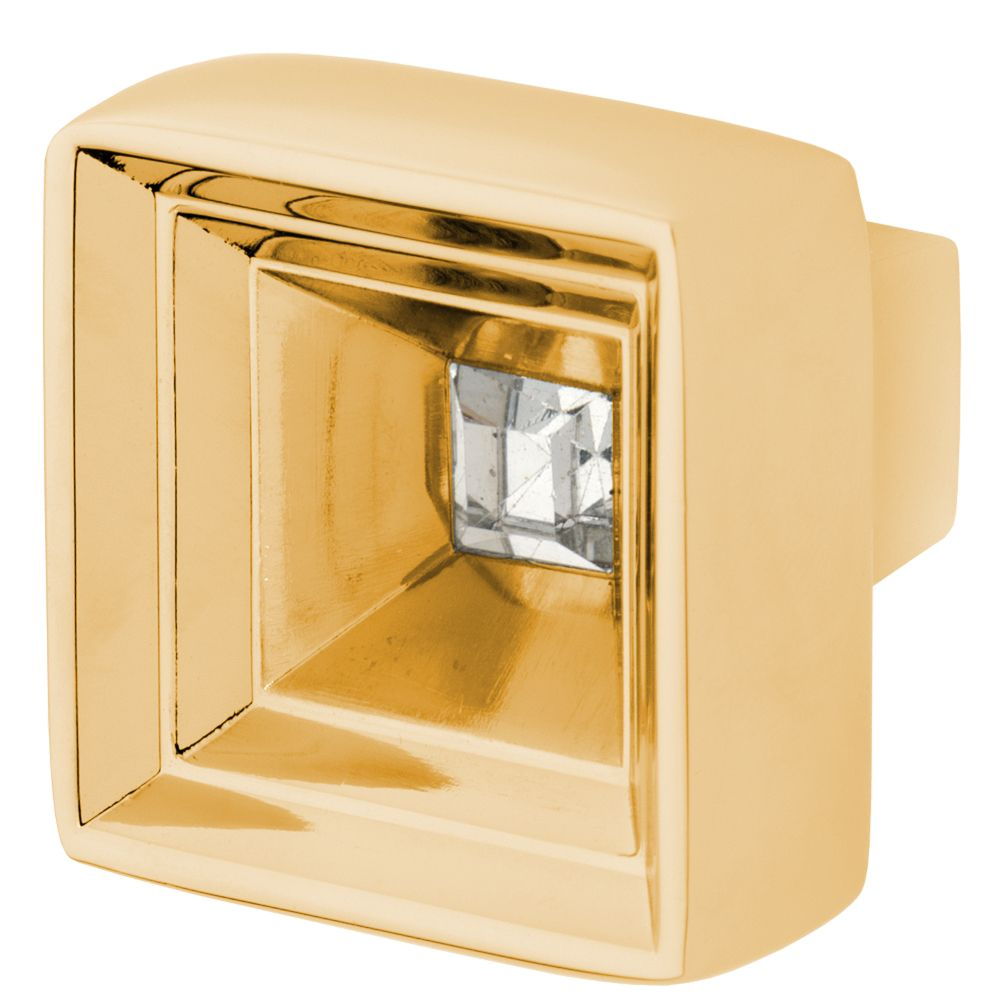 Hidden Treasure Knob, Polished Gold, Clear