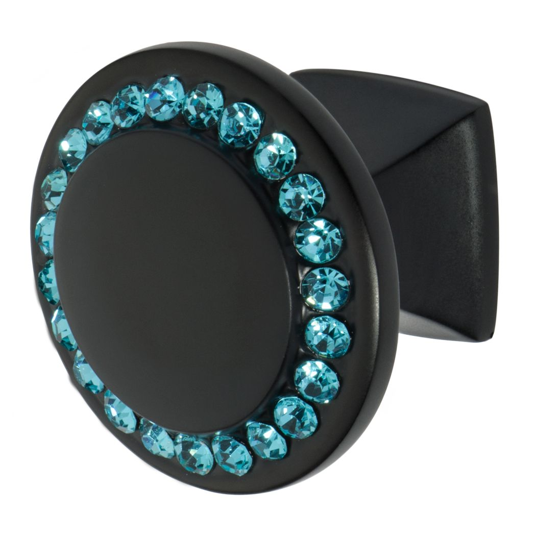 Round cabinet knob in black finish with small aqua blue crystals and one and a quarter inch diameter