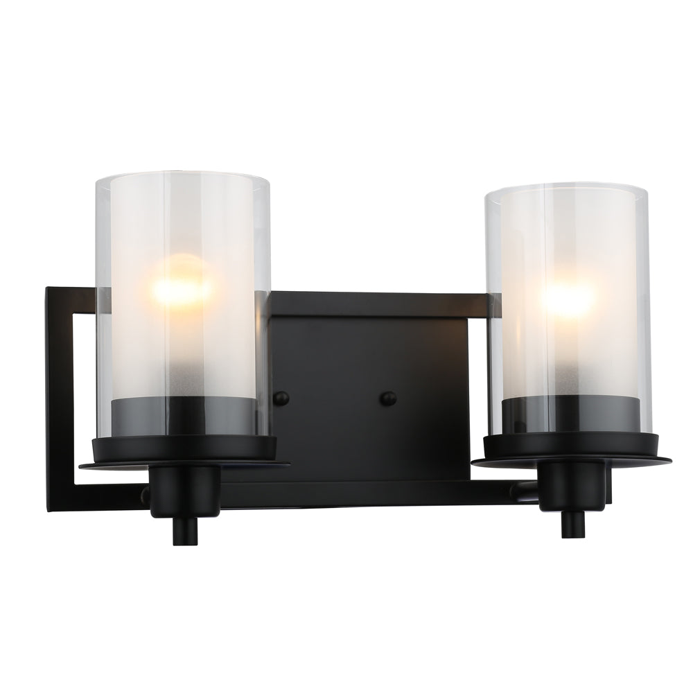 Juno Matte Black 2 Light Wall Sconce / Bathroom Fixture