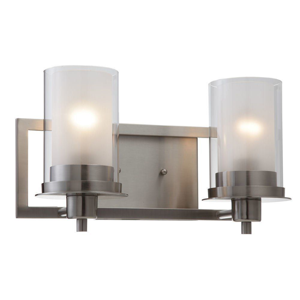 Juno Satin Nickel 2 Light Wall Sconce / Bathroom Fixture