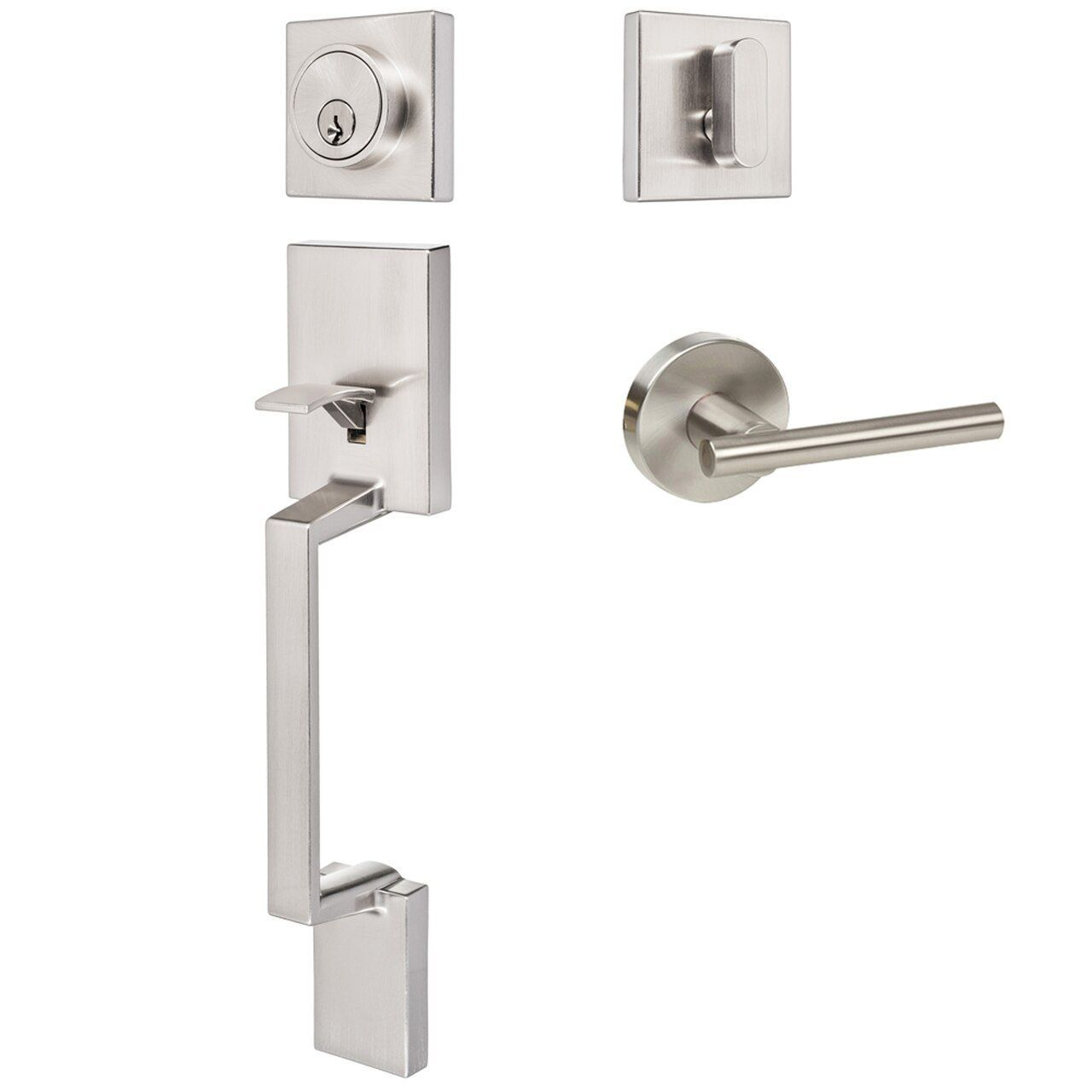 Keeneland Design Satin Nickel Contemporary Handleset with Kain Lever