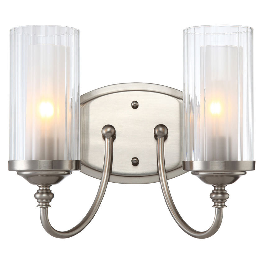 Lexington Satin Nickel 2 Light Wall Sconce / Bathroom Fixture : 20-9489