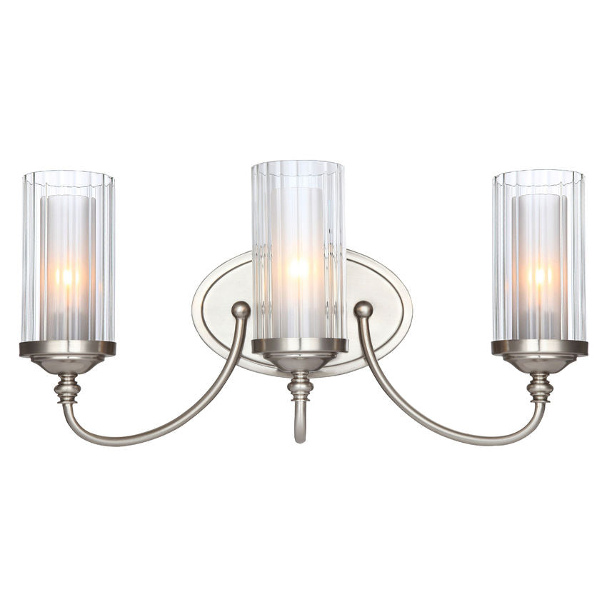Lexington Satin Nickel 3 Light Bathroom Vanity Wall Fixture : 20-9557