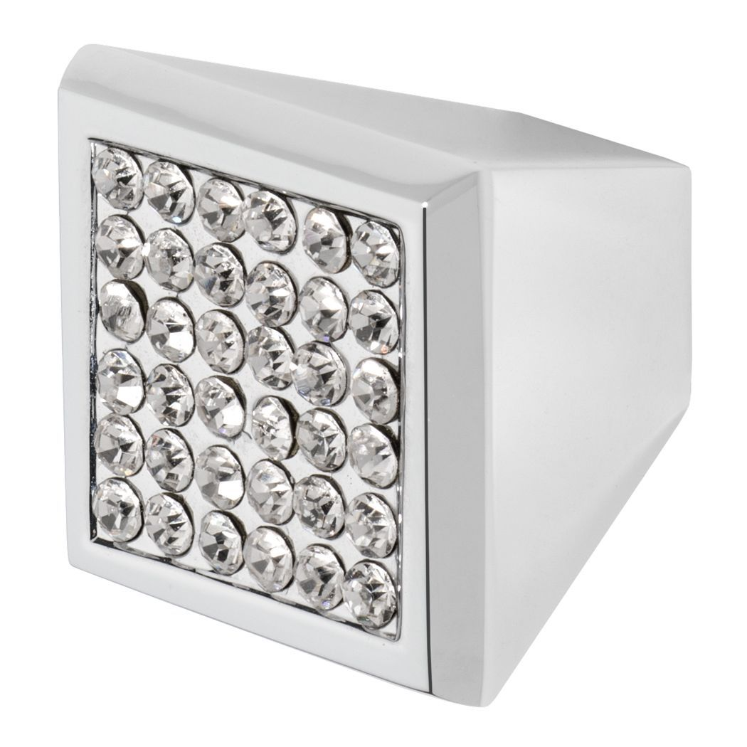Prism drawer knob in polished chrome finish with small clear crystals