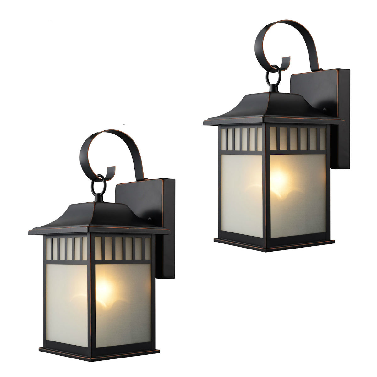 Oil Rubbed Bronze Outdoor Patio / Porch Exterior Light Fixtures - Twin Pack : 73477