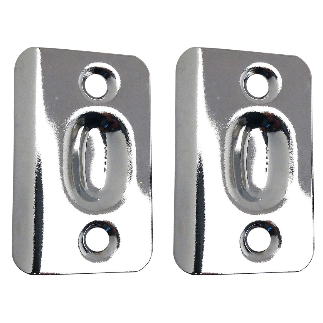 Polished Chrome Replacement Ball Catch Strike Plates (Pair)