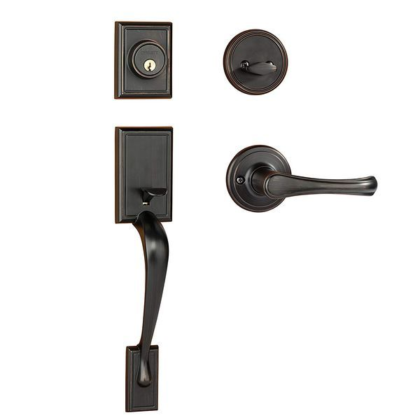 Dynasty Hardware Ridgecrest RID-VAL-100-12P Front Door Handleset with Vail Lever, Aged Oil Rubbed Bronze