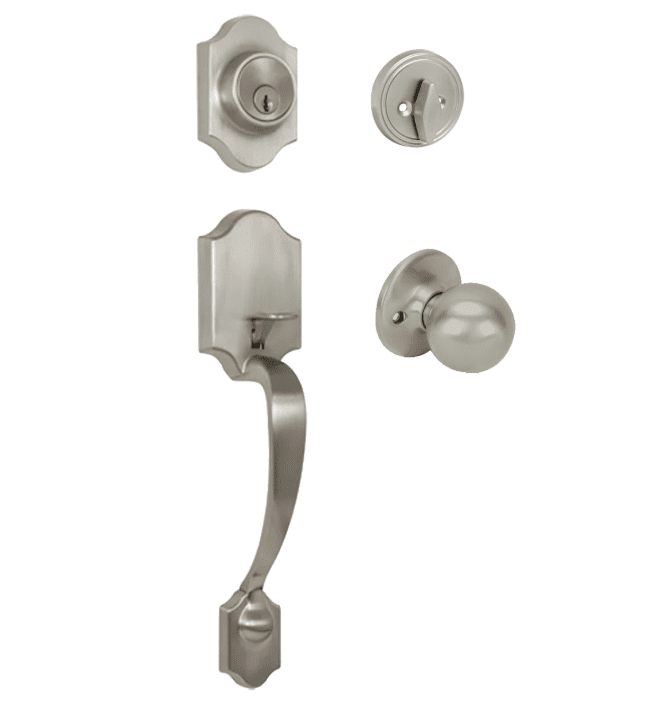 Valhala Satin Nickel Decorative Handleset with Ashland Knob