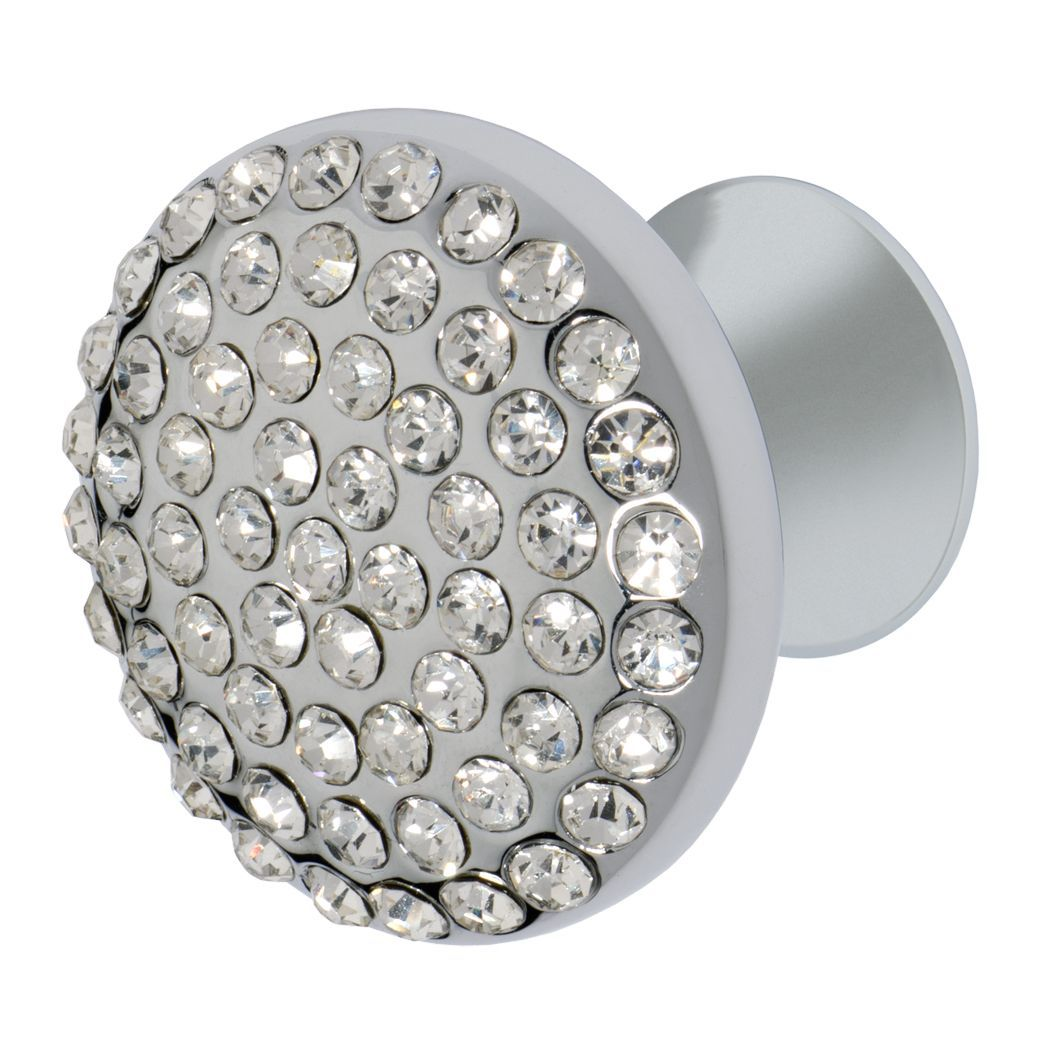 Vivacité Knob, Polished Chrome, Clear
