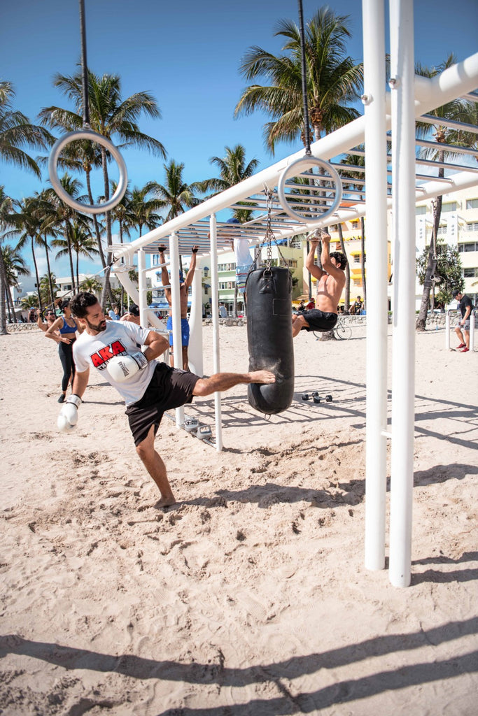 outdoor fitness monkey bar punching bag beach exercise