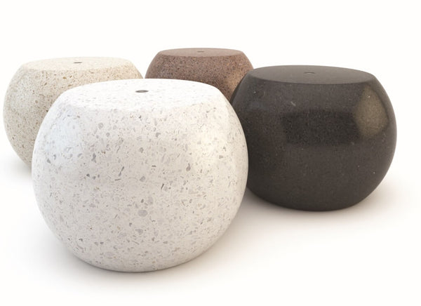 indoor outdoor marble stone terrazzo stool seating white black beige brown