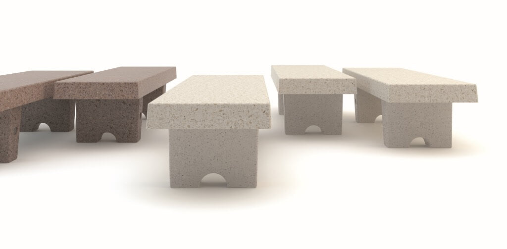 marble stone bench seating in white brown terrazzo rectangle shape urban design landscape