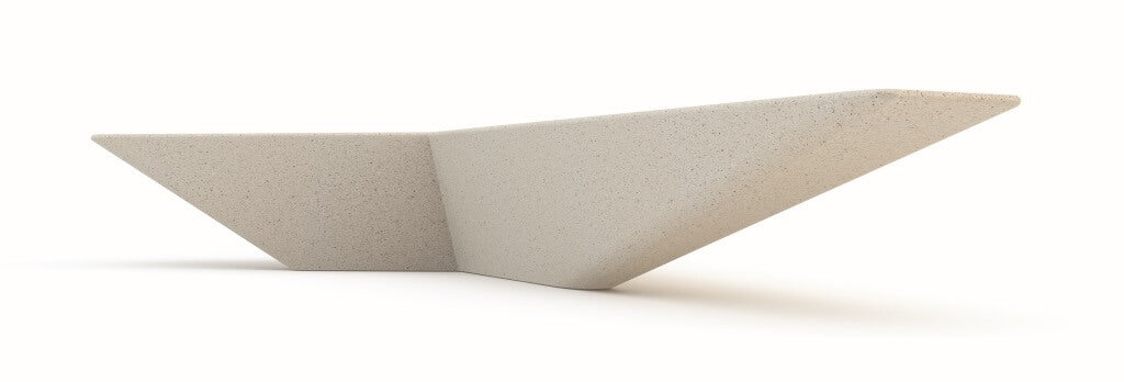 white angle shape terrazzo stone bench seating indoor outdoor urban design