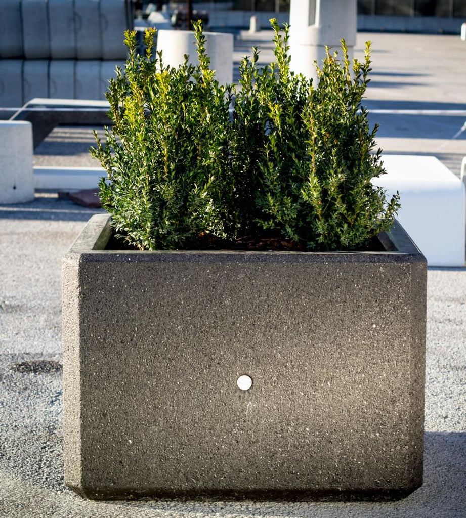 black planter box stone terrazzo street furniture landscape