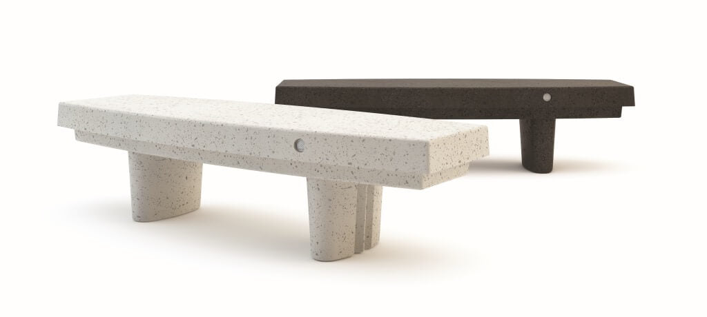 white stone black stone bench seating urban design street furniture terrazzo landscape