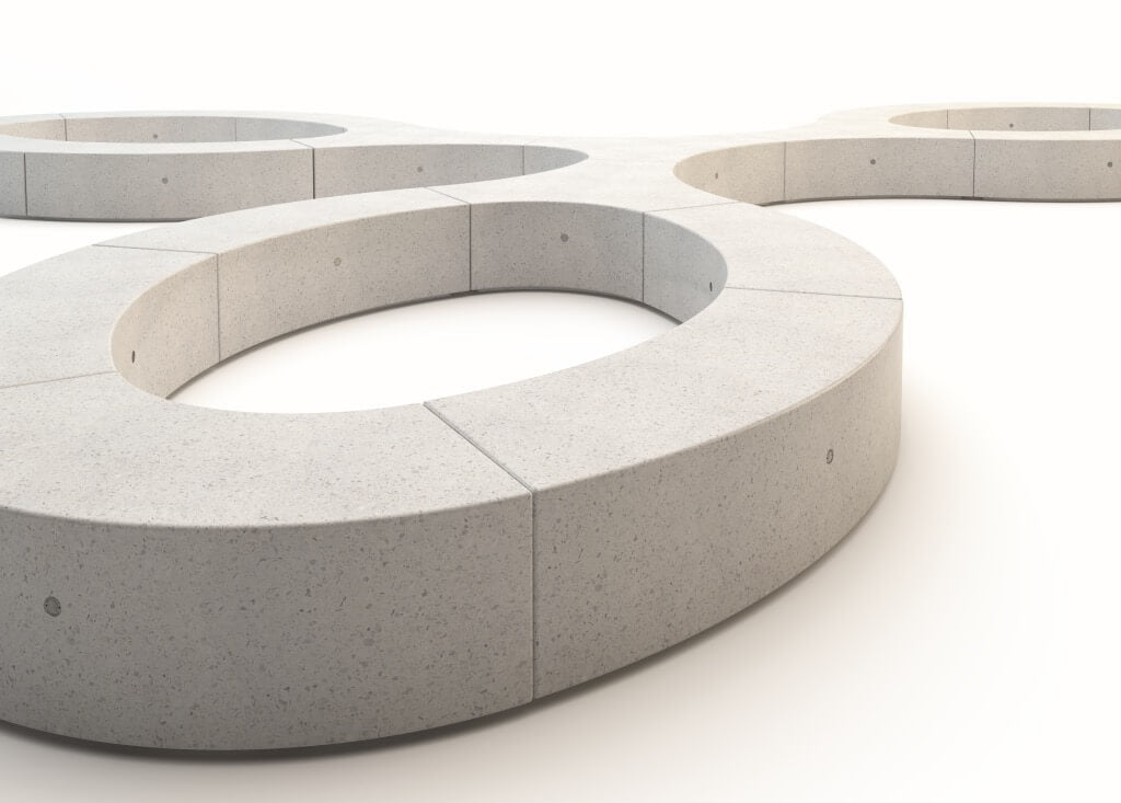 white granite stone finish bench seating modular curved profile indoor outdoor street furniture