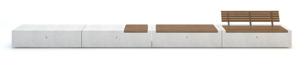white granite stone bench seating with timber slats backrest rectangle