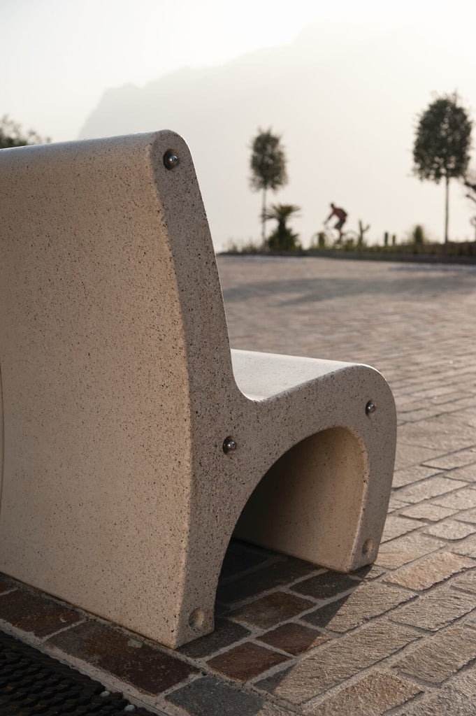 white granite stone park bench seating outdoor