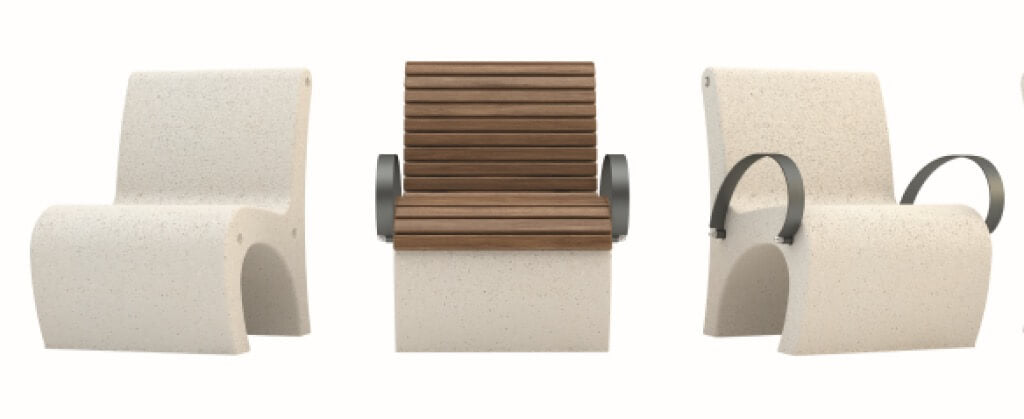 white granite stone terrazzo armchair seating with timber slats outdoor