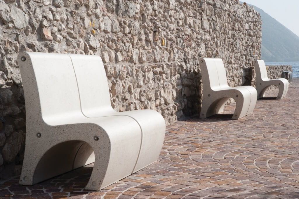 white granite stone bench seating street furniture park