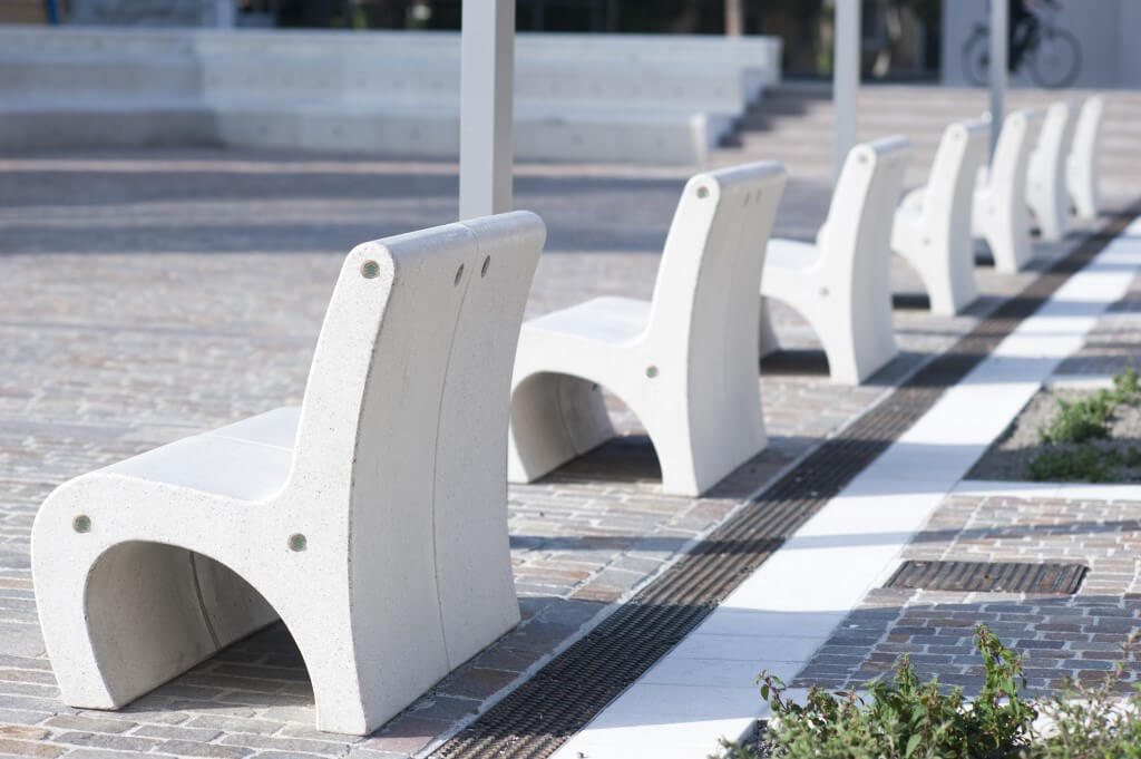 white granite stone terrazzo bench seating street furniture park bench