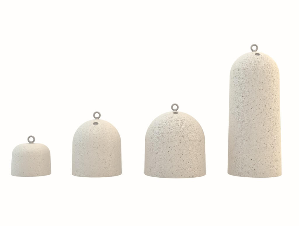 white granite terrazzo stone bollards street furniture round dome