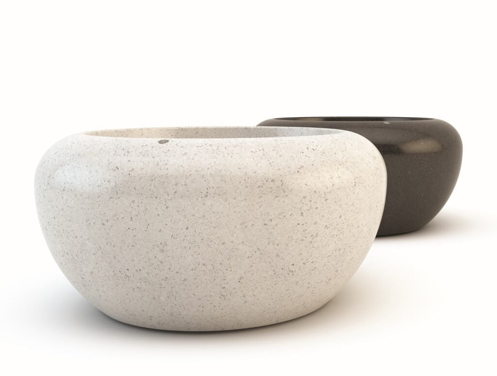 white granite black granite round large stone planter