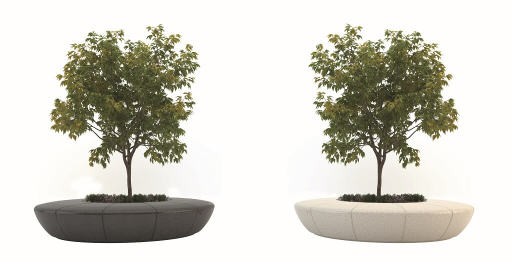 round planter flowerbed with bench seating outdoor tree stone terrazzo