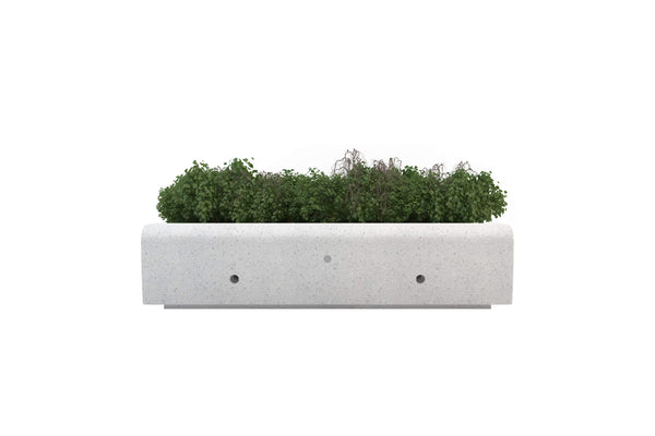 outdoor rectangle planter modular with bench stone terrazzo