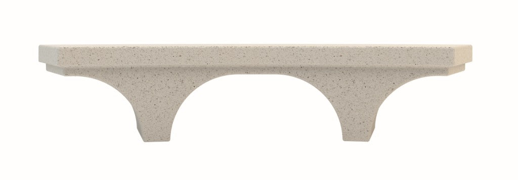 outdoor curved modular bench stone terrazzo