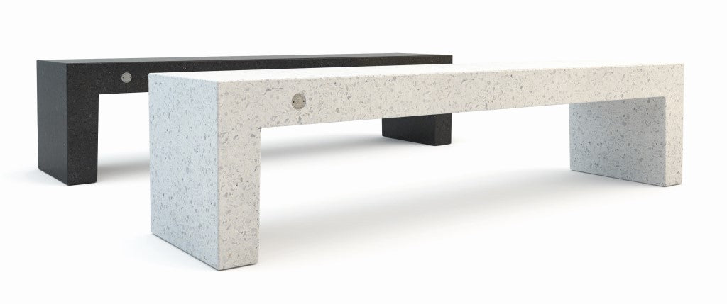outdoor stone terrazzo bench seating street furniture