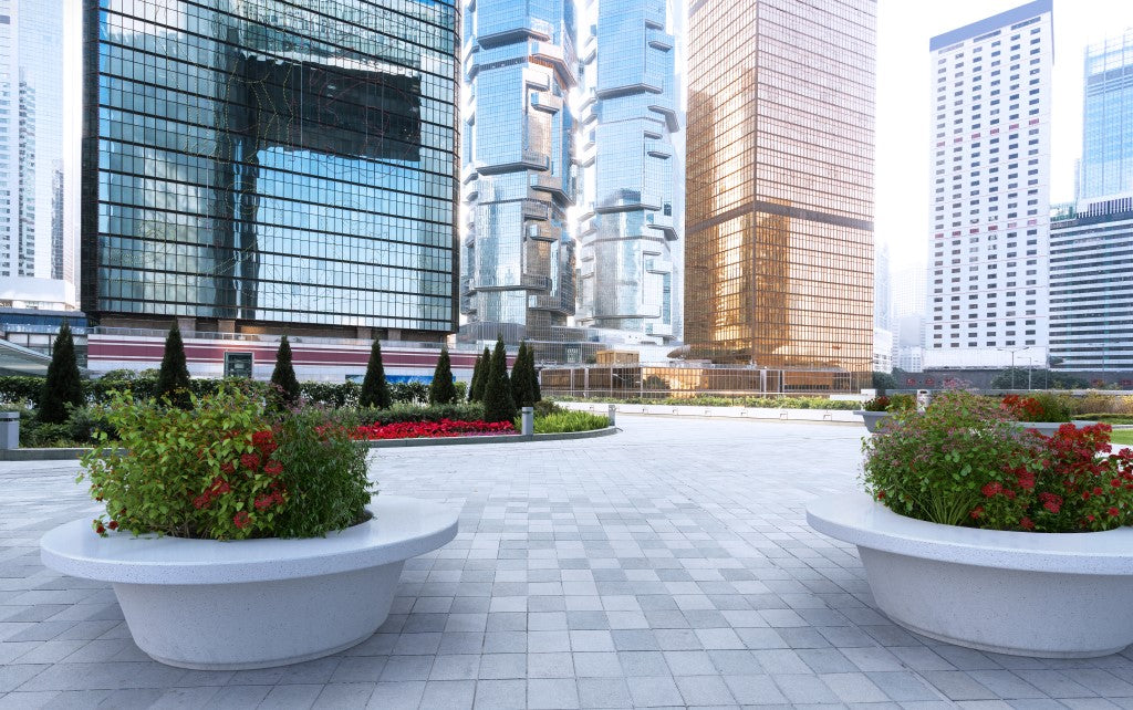round planter with seating stone terrazzo street furniture
