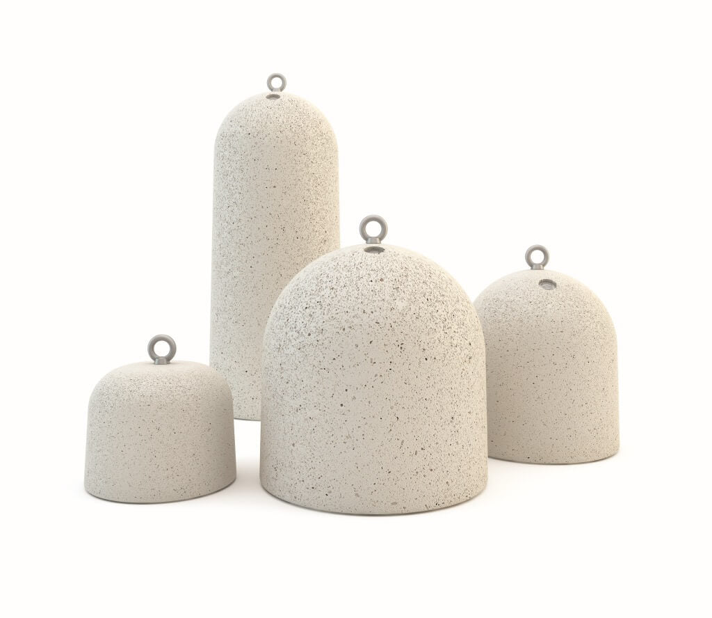 white granite stone terrazzo bollards dome shape