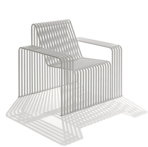 indoor outdoor street furniture armchair bent tubes metal designer white