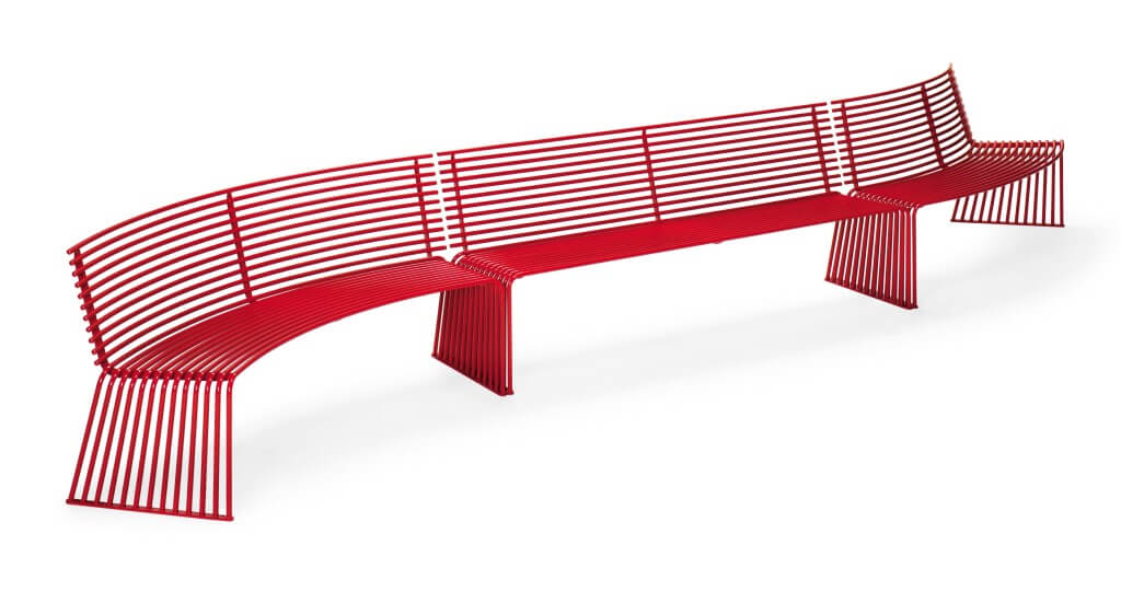 outdoor street furniture metal bench red