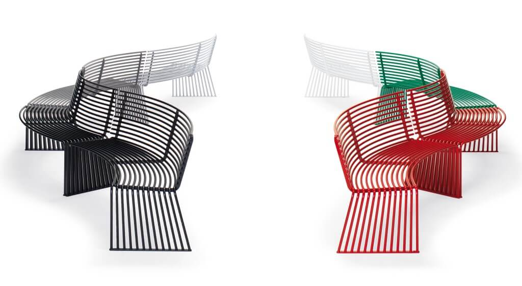 outdoor street furniture park furniture bench metal concave red black white green