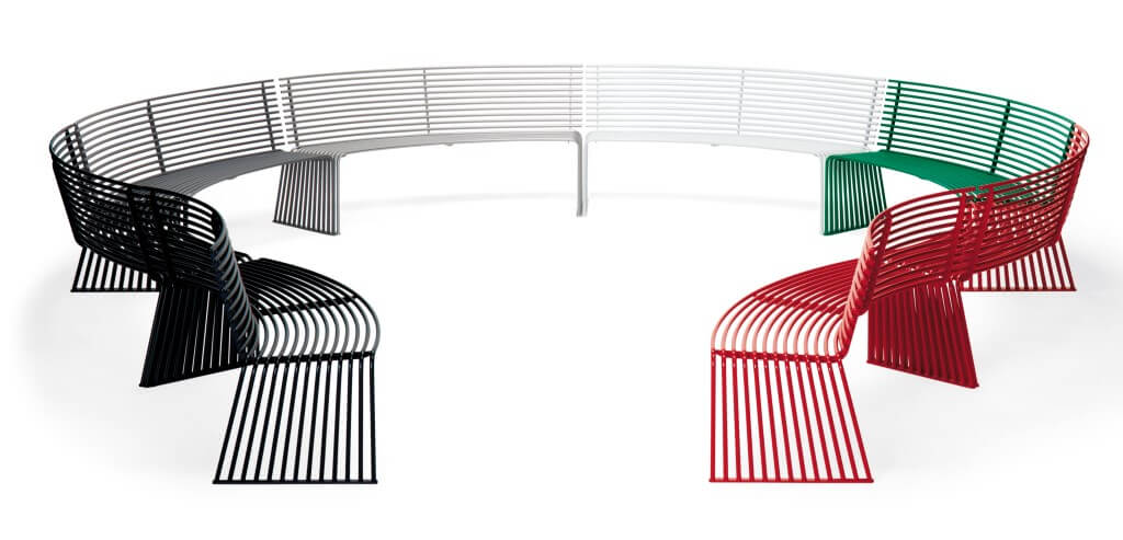 outdoor urban street furniture metal bench seating curved module red green black silver white