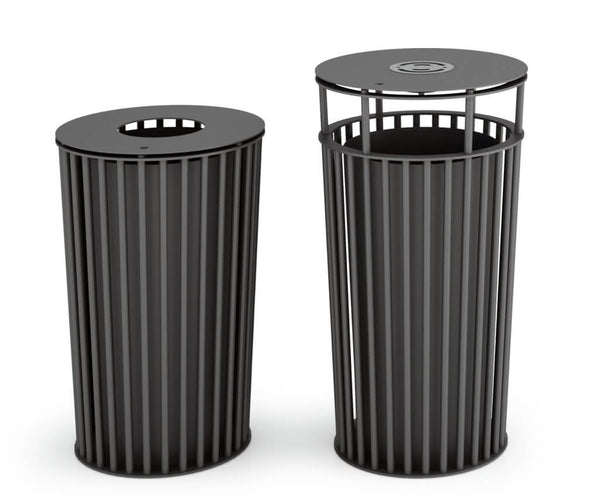 indoor outdoor black metal tube litter bin
