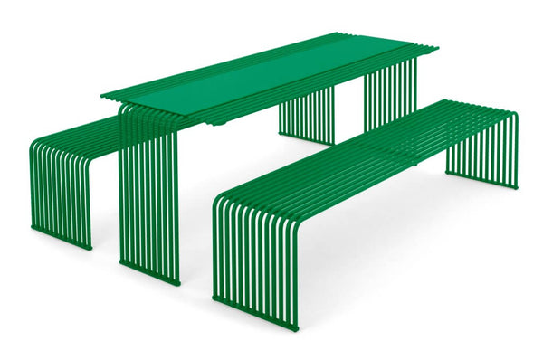 green outdoor picnic table and bench seat park furniture urban design