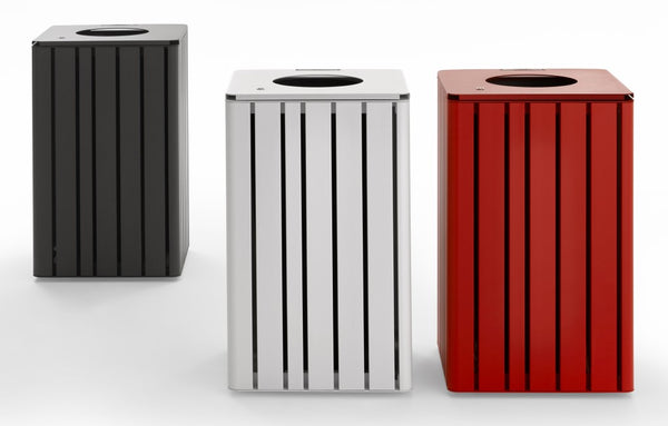 indoor and outdoor litter bin metal finish red white black designer