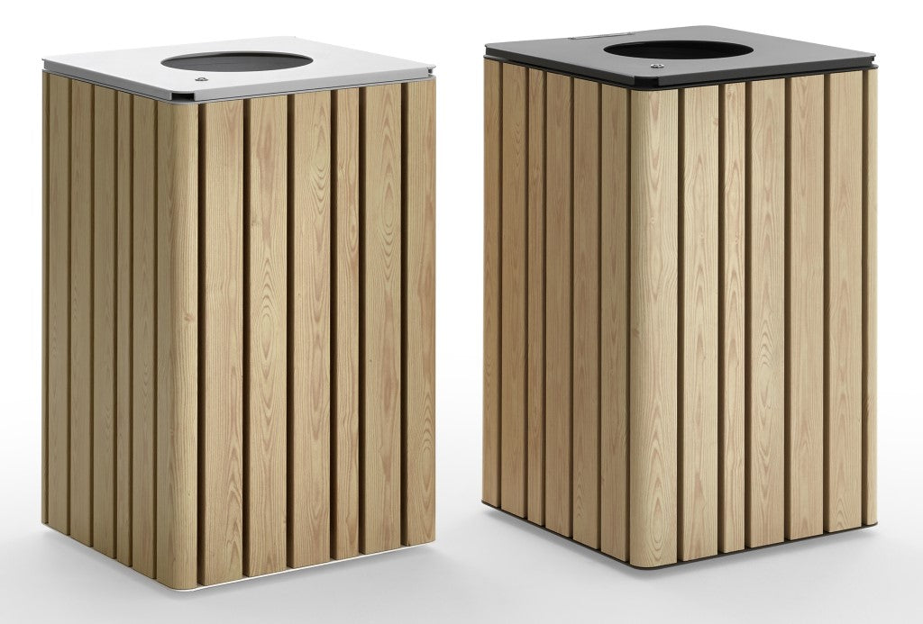 indoor outdoor litter bin metal finish with timber look finish modern square design