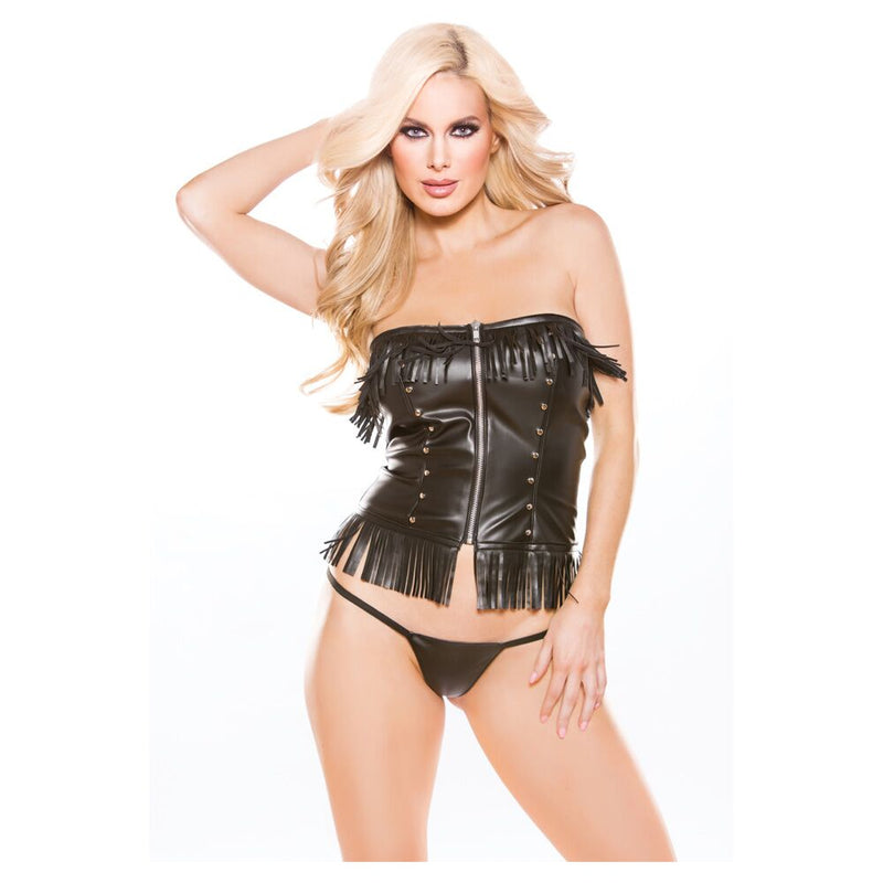 Naughty Faux Leather Corset Top Black XS/S - The Chocolate Men Adult Store