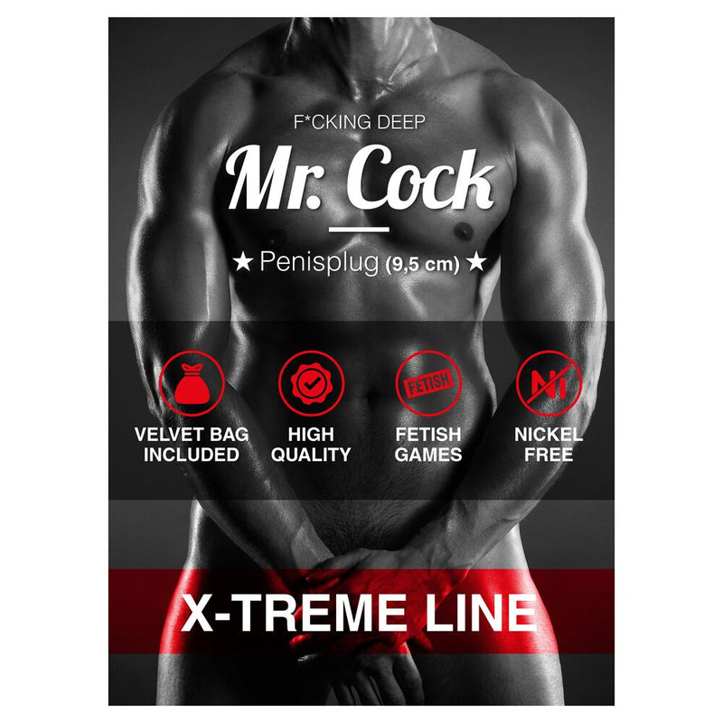 Mr Cock Extreme Line Fucking Deep Penisplug Silver 3.75in - The Chocolate Men Adult Store