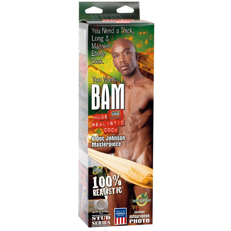 Doc Johnson Realistic Bam Moulded Cock With Autographed Photo Black 13in - The Chocolate Men Adult Store