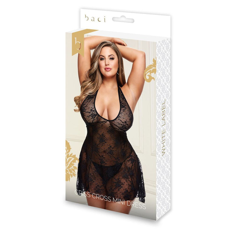 Baci Criss Cross Mini Dress Black Queen - The Chocolate Men Adult Store