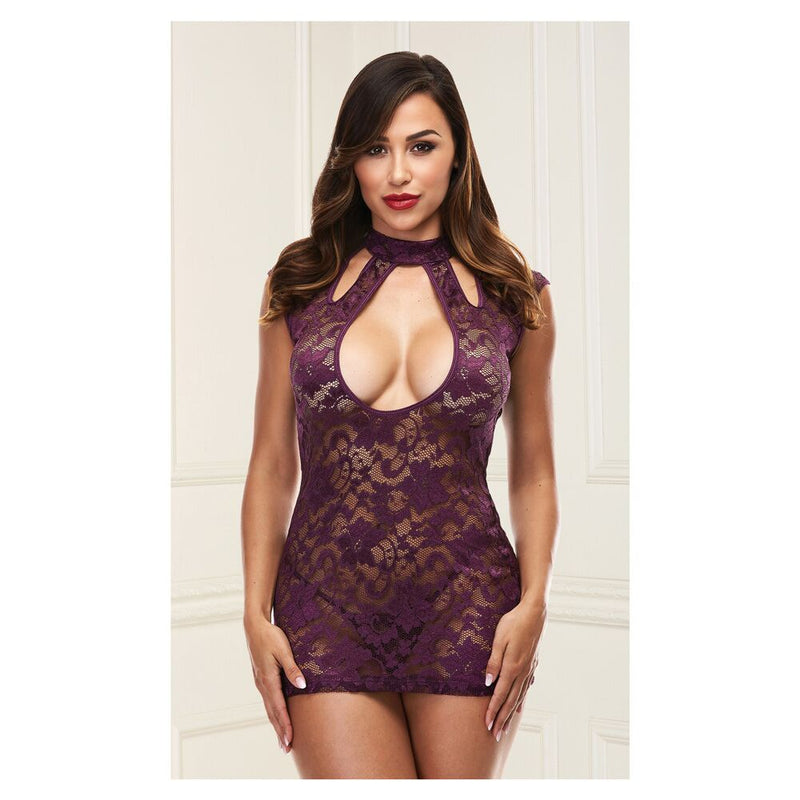 Baci Lace Keyhole Mini Dress Purple XS/S - The Chocolate Men Adult Store