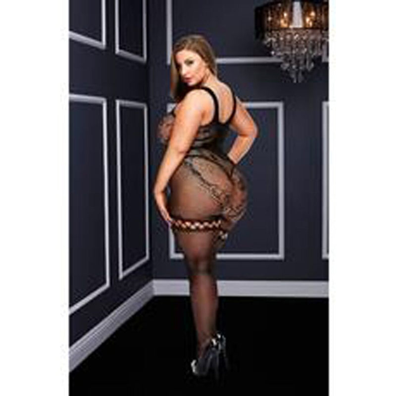Baci Crotchless Bodystocking Black Queen - The Chocolate Men Adult Store