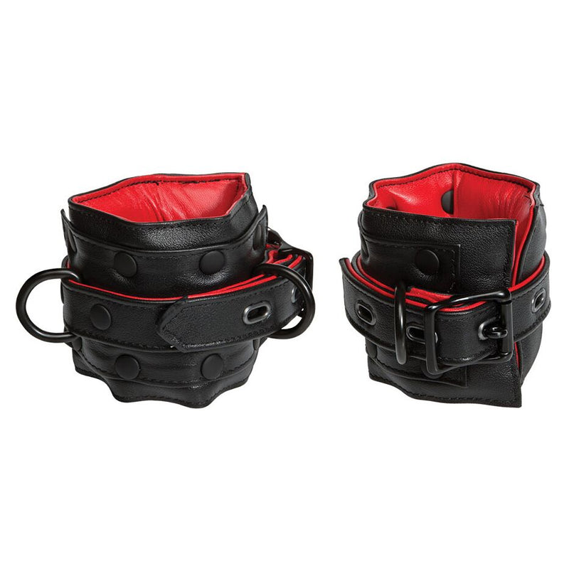 KINK Ankle Restraints Black/Red - The Chocolate Men Adult Store