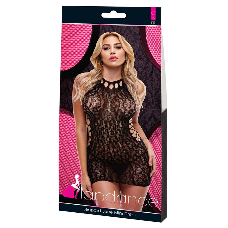 Lapdance Leopard Lace Mini Dress High Neck Black M/L - The Chocolate Men Adult Store