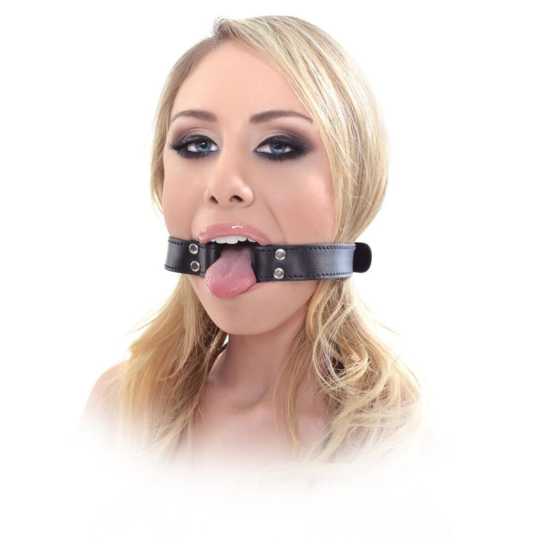 Fetish Fantasy Beginner's Open Mouth Gag Black 2.25in - The Chocolate Men Adult Store